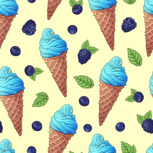 Modello senza cuciture dell'illustrazione di vettore del cono gelato