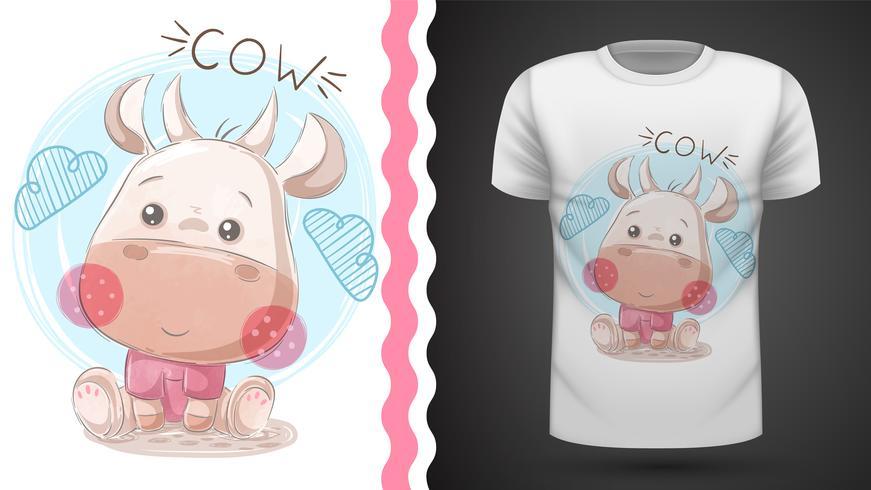 funny teddy cow - idea per la t-shirt stampata. vettore