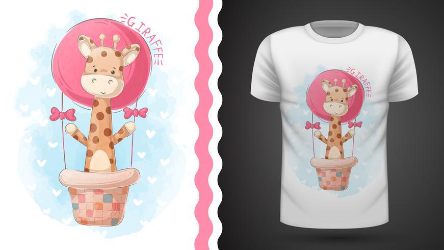 Giraffa e mongolfiera - idea per t-shirt stampata vettore