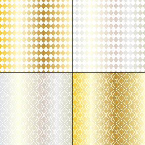 motivi geometrici marocchini in argento e oro vettore