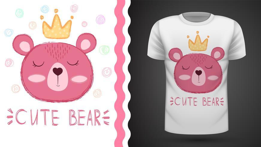Bear princess - idea per t-shirt stampata vettore