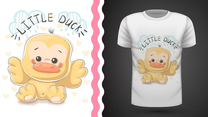 Cute duck - idea per t-shirt stampata. vettore