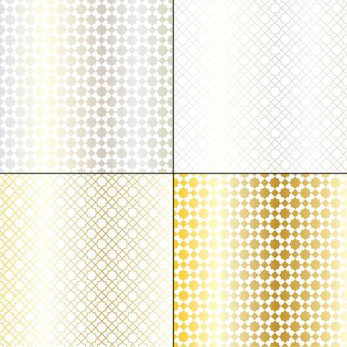 modelli geometrici marocchini in argento metallizzato e oro vettore