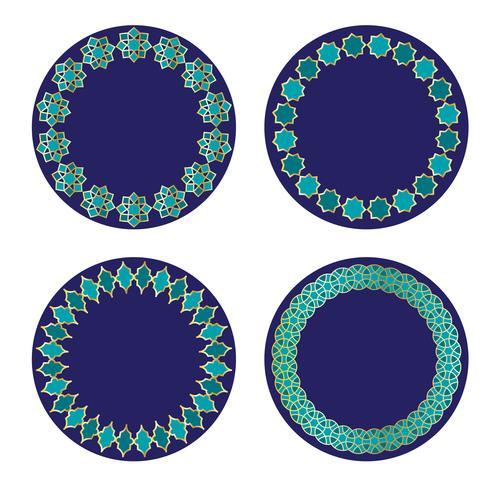 cornici di cerchio marocchino oro blu vettore