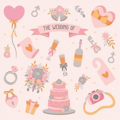 Insieme disegnato a mano dell'icona dell'elemento di nozze di amore di scarabocchio vettore