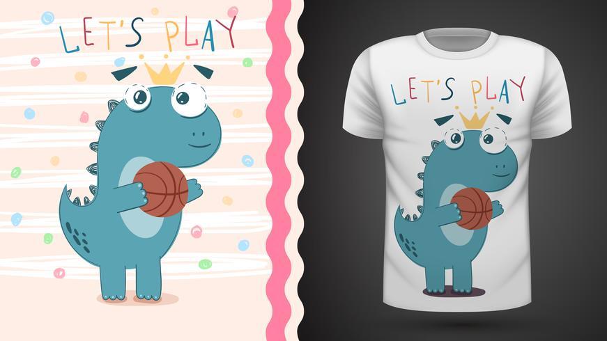 Dino play basket - idea per la t-shirt stampata vettore