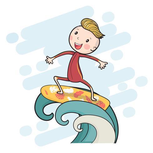 carino disegno surf boy sulla tavola da surf che galleggia sulla grande onda vettore