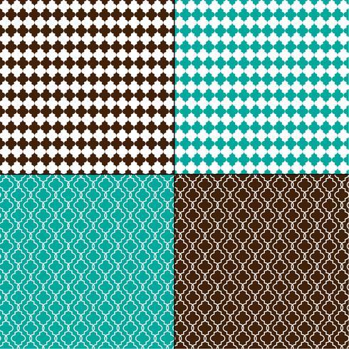 motivi geometrici marocchini marrone e blu turchese vettore
