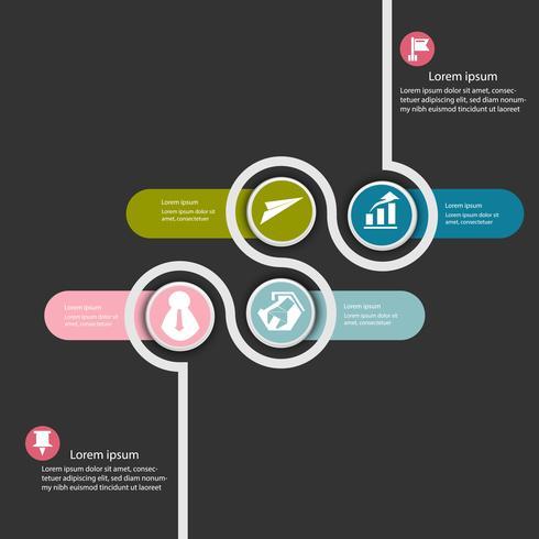 Dati aziendali infographic, diagramma di processo con 4steps, vettore ed illustrazione