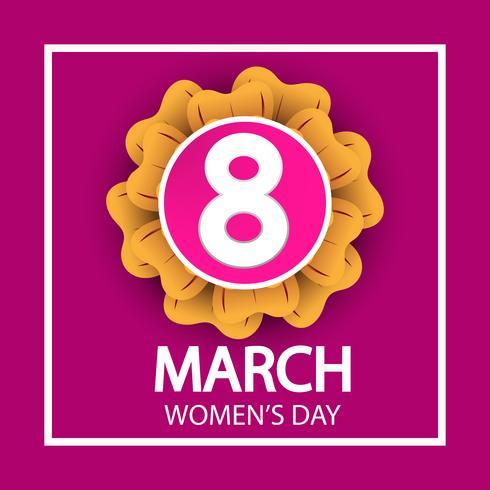 festa della donna, 8 marzo segno di celebrazione su sfondo rosa vettore