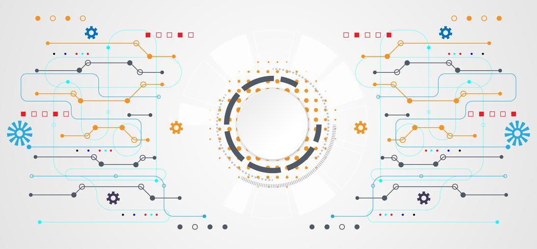 concetto astratto tecnologia cerchio bianco digitale su sfondo bianco tech hi grigio vettore