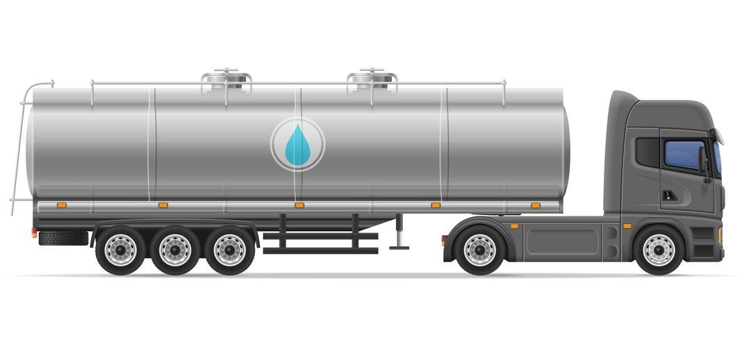 il rimorchio dei semi del camion con il carro armato per il trasporto dei liquidi vector l'illustrazione