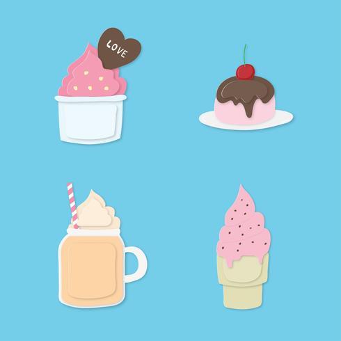 Set di colorato dolce dessert pastello. Gelato, cup cake, succo di frutta, pan cake su sfondo blu. vettore
