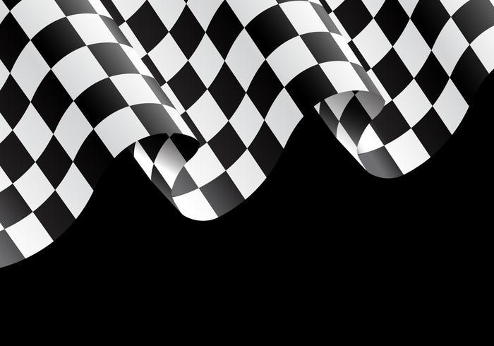 Volo a quadretti della bandiera sull'illustrazione nera di vettore del fondo del campione della corsa di progettazione.