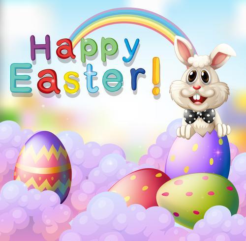 Coniglio di Pasqua e uova decorate vettore