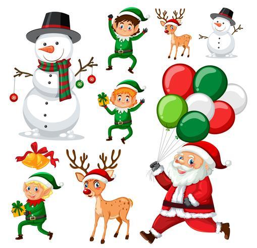 Una serie di elementi natalizi vettore