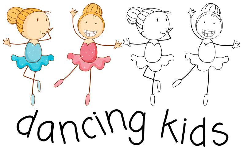 Bambini che ballano balletto a colori e contorni vettore