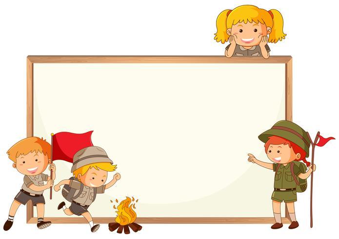 Ragazzo e ragazza scout e cornice di lavagna vettore