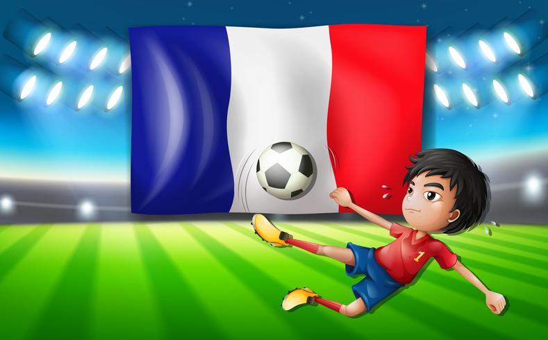 Un modello di giocatore di calcio francese vettore