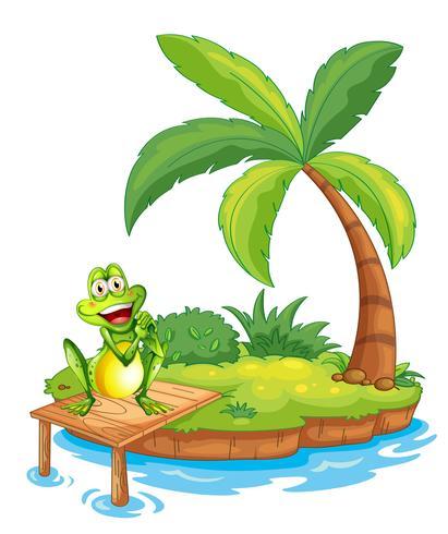 Un'isola con una rana sopra il ponte di legno vettore