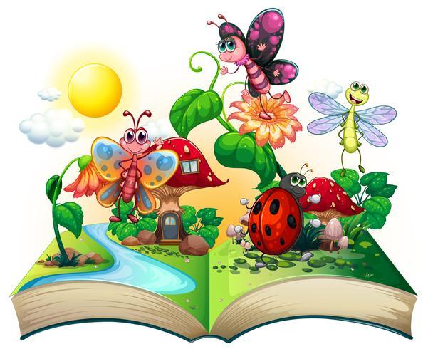 Farfalle e altri insetti nel libro vettore