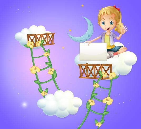 Una ragazza che si siede sopra una nuvola che tiene un'insegna vuota vettore
