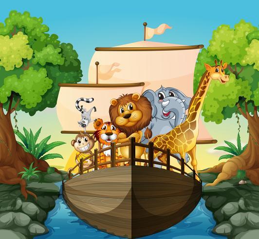 Animali e barca vettore