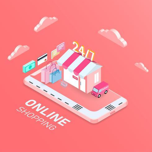 Concetto mobile di acquisto online, design isometrico. illustrazione vettoriale. vettore