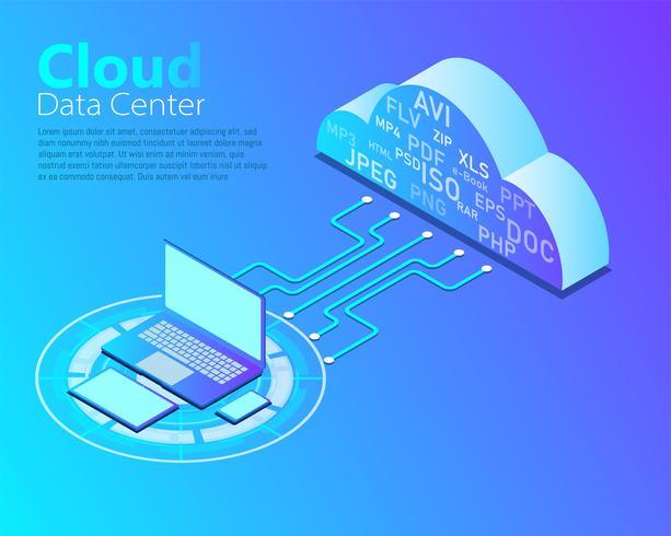 Vettore di cloud data center, tecnologia di cloud computing, progettazione isometrica, configurazione di rete.