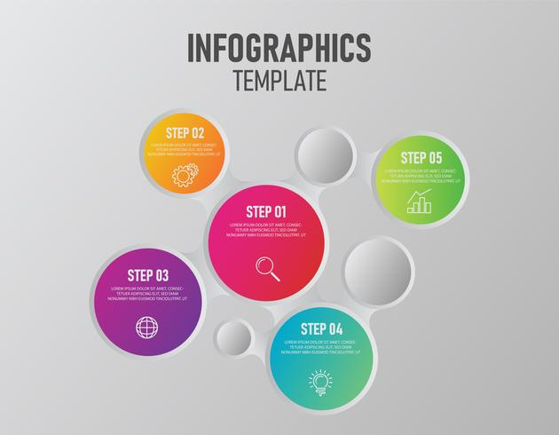 Modello di disegno di infographics di vettore con etichetta di carta colorata 3d