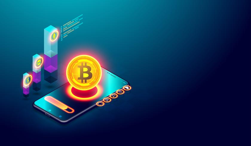 Cryptocurrency bitcoin e Blockchain concept. vettore
