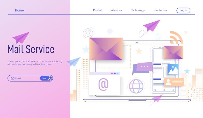 Posta elettronica o servizi di posta elettronica moderno concetto di design piatto vettore
