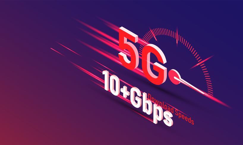 vettore della nuova quinta generazione di internet concept, velocità della rete internet wireless 5G.