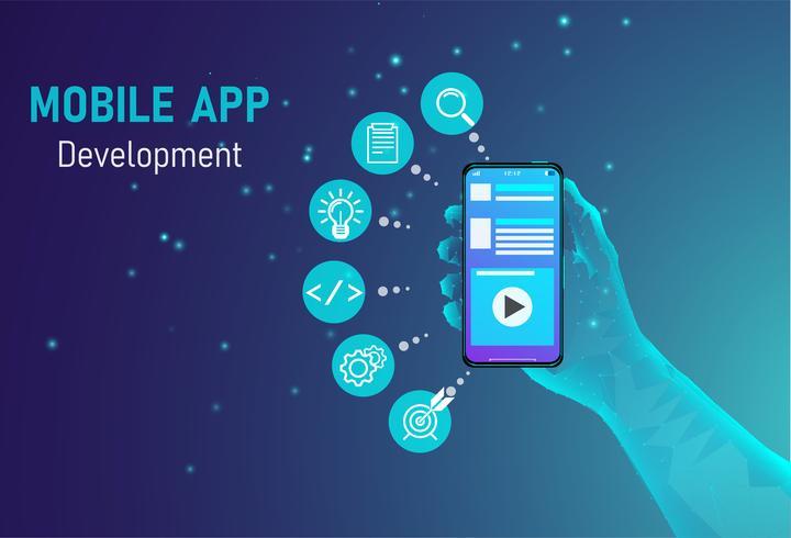 concetto di sviluppo di app per dispositivi mobili vettore