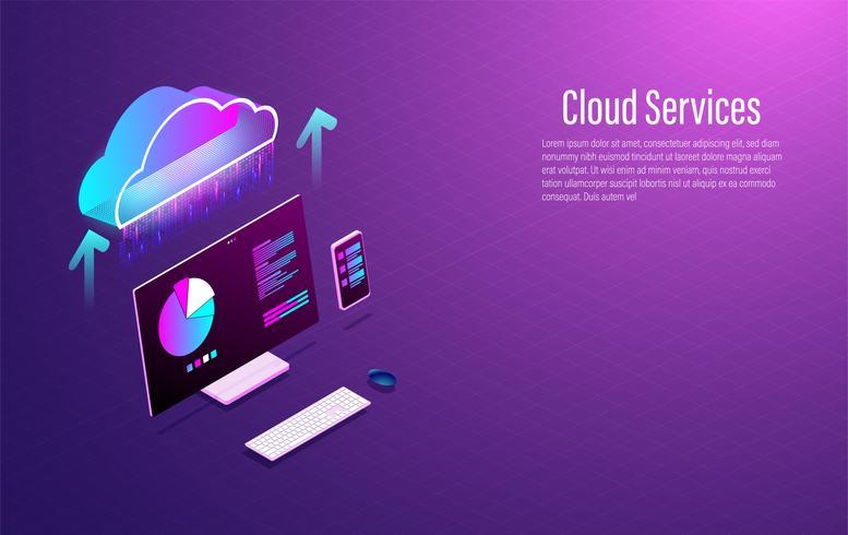 Concetto technolodgy moderno isometrico astuto di stoccaggio 3d di dati della nuvola con lo smartphone ed il computer portatile. Vettore