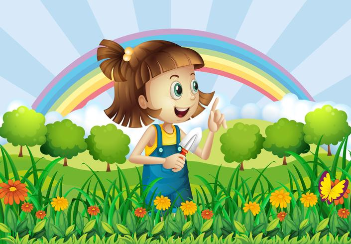Una ragazza che fa giardinaggio vettore