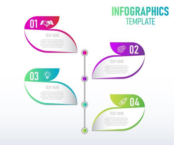 Disegno del modello colorato infografica, elementi astratti di grah con passaggi. illustrazione vettoriale. vettore