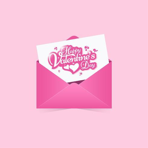 Cartolina d'auguri felice di giorno di biglietti di S. Valentino, invito con il fondo astratto della busta rosa vettore