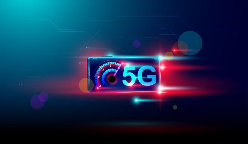 Internet wireless 5G con download e upload ad alta velocità su dispositivi smartphone Vector. vettore