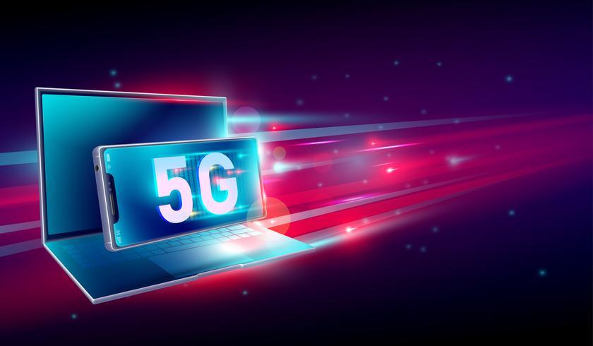 5G Internet ad alta velocità della comunicazione della rete sul volo 3d realistico computer portatile e smartphone con luce rosso e sfondo blu scuro. Vettore