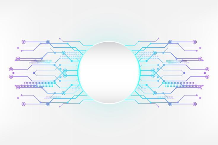 Ciano bianco tecnologia astratto sfondo con la linea del circuito concetto e spazio vuoto del cerchio vettore