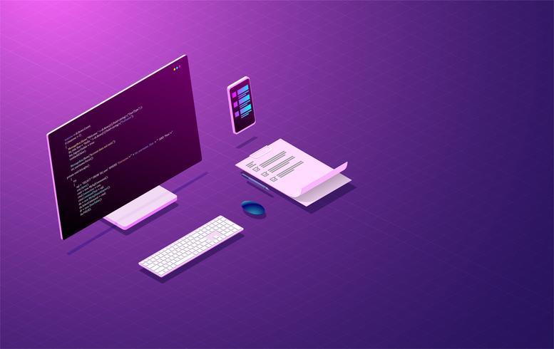 sviluppo e codifica di programmi, progettazione di app mobili, laptop con schermi interattivi virtuali e dispositivi mobili vettore