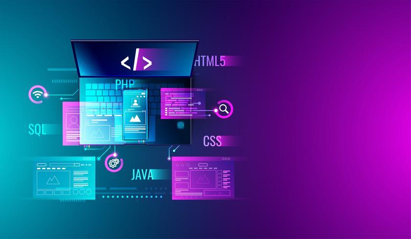 Sviluppo Web, progettazione di applicazioni, codifica e programmazione su laptop e smartphone con linguaggio di programmazione e codice di programma e layout su schermo. vettore