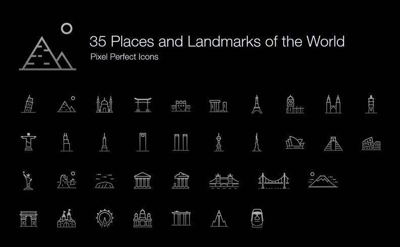 35 luoghi e punti di riferimento del mondo Pixel Perfect Icons (Line Style Shadow Edition). vettore