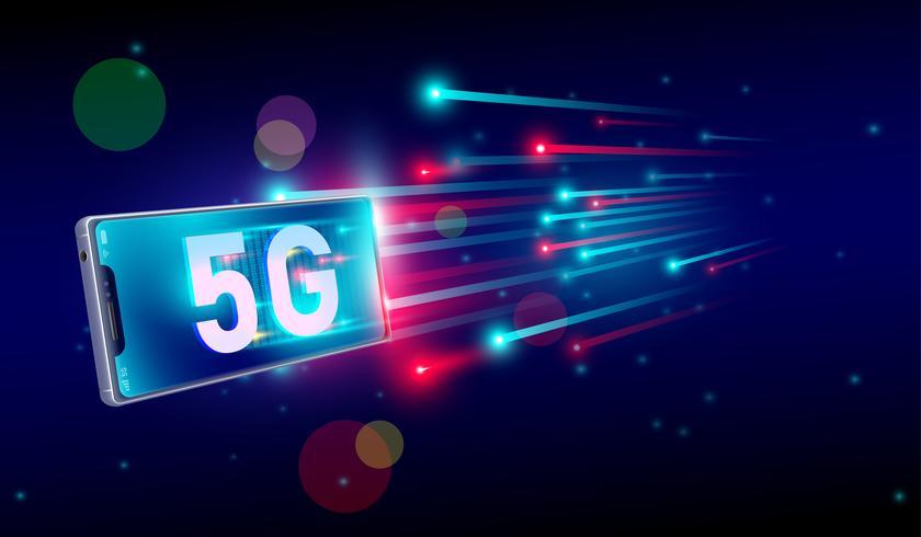 Connessione Internet 5G più veloce con il concetto di smartphone, 5a generazione di Internet, velocità della rete Internet wireless 5G. vettore