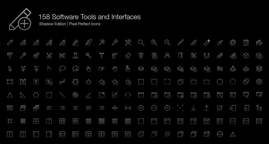 Strumenti software e interfacce Pixel Perfect Icons (stile della linea) Shadow Edition. vettore