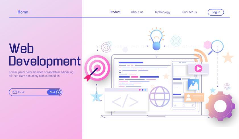 Sviluppo Web moderno concetto di design piatto, sviluppo di app mobile, codifica e programmazione vettoriale