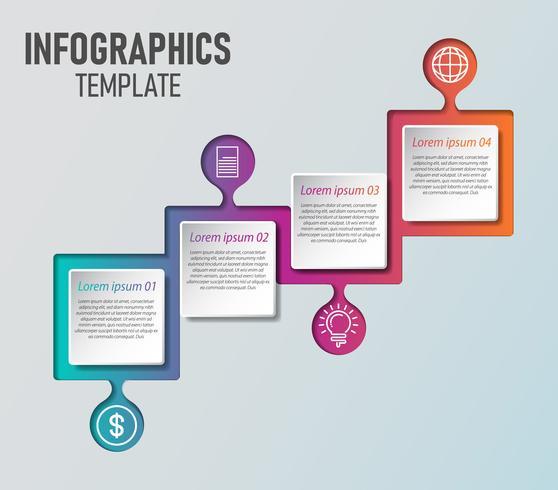 Modello di infografica di affari. Timeline con 4 passaggi, etichette. Elemento di infografica vettoriale