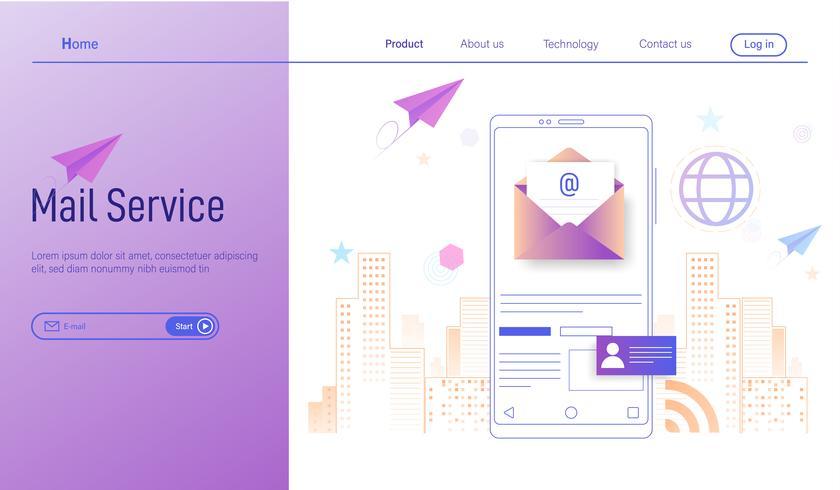 Servizio di posta elettronica mobile moderno concetto di design piatto, business email marketing, newsletter e posta elettronica vettoriale
