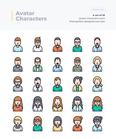 Dettagliata serie di icone vettoriali colore Set di persone e Avatar. Cifra perfetta e modificabile Pixel 64x64.